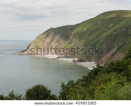 Looking towards Foreland Point and the Bristol Channel from Lynemouth on the South West Coast Path between Porlock Weir and Lynton within Exmoor National Park in Devon, England, UK
