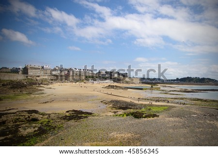 Looking towards st. Malo from an island during ebb. - stock photo
