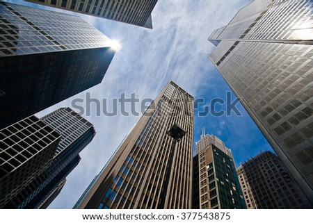 Looking up at Chicago's tower , IL, USA - stock photo