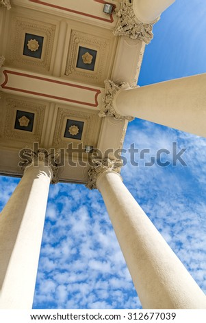 looking up at columns of historic building