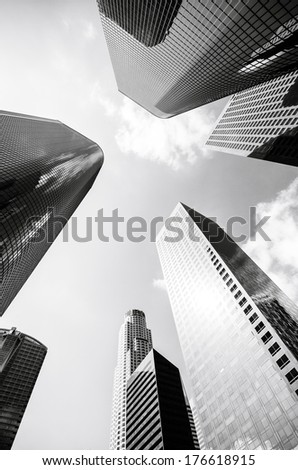 Looking up at futuristic skyscrapers in downtown Los Angeles, California - stock photo