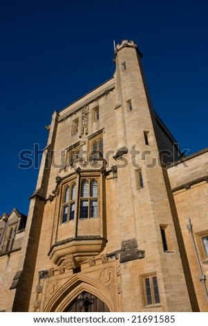 Looking up at Mansfield College's main tower - stock photo