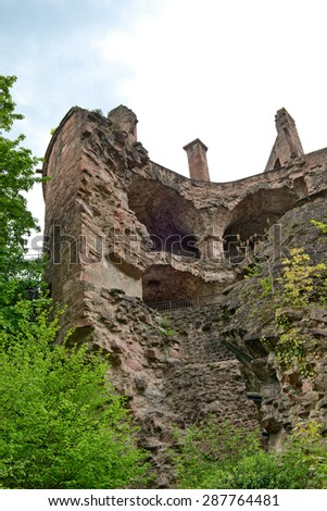 Looking Up at Ruins of Destroyed Heidelberg Castle Tower, a Historic Tourist Attraction in Heidelberg, Baden-Wurttemberg, Germany - stock photo