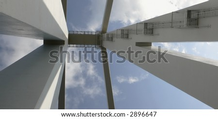 looking up at the bridge ... Libya - stock photo