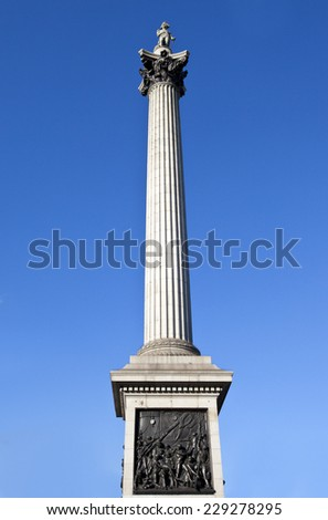 Looking up at the magnificent Nelson's Column in London. - stock photo