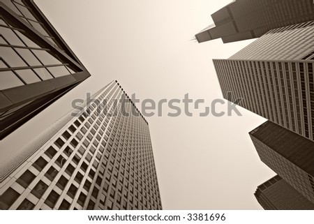 Looking up, big city Chicago skyscrapers. - stock photo