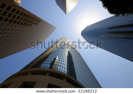 Looking up downtown highrise at Los Angeles, California - stock photo