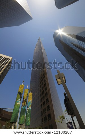 looking up downtown skyscrapher at Los Angeles, California - stock photo