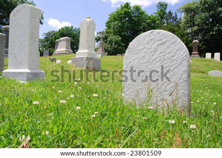 Looking up into a graveyard with blank tombstones - stock photo