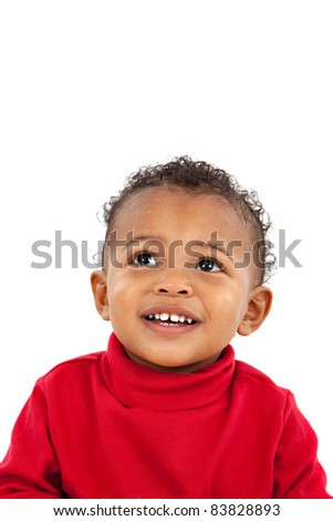 Looking Up Smiling Adorable African American Boy on Isolated White Background - stock photo