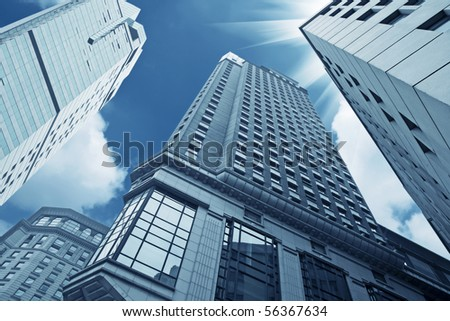 looking up the modern buildings in shanghai - stock photo