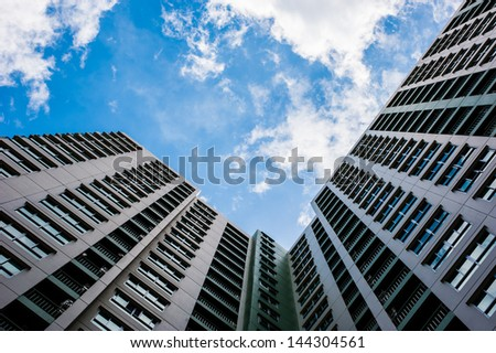 Looking up the sky by side of the building - stock photo