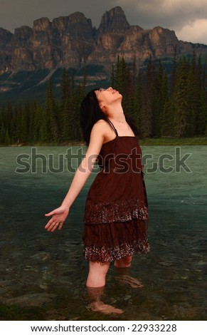 Looking up to God - stock photo