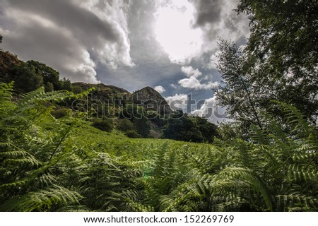 Looking up to Walla Crag in the Lake District - stock photo