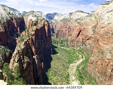 Looking up Zion Canyon from atop Angels Landing, Zion NP, Utah - stock photo