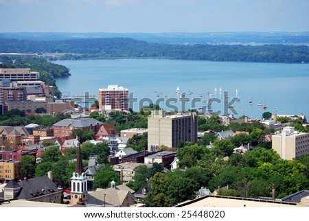 Looking west over downtown Madison, Wisconsin. Includes the UW-Madison campus, Union Terrace and Lake Mendota. Taken from the top of the Capitol building. - stock photo