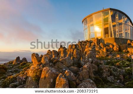 Lookout at dawn on the summit of Mount Wellington, Tasmania, Australia - stock photo