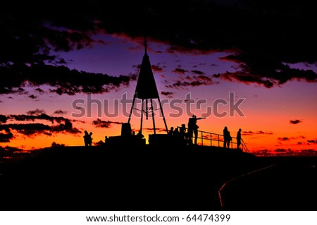 Lookout at sunset - stock photo