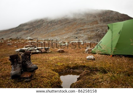Lookout from a tent on a great dawn - stock photo