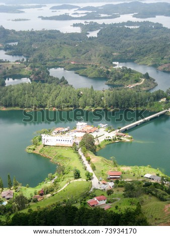 Lookout from Guatape rock, Antioquia, Colombia - stock photo