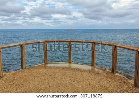 Lookout over beautiful blue waters in Granite Island off the coast of Victor Harbour South Australia - stock photo