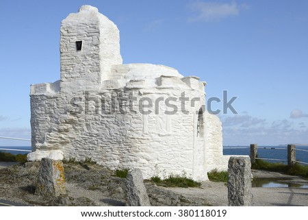 Lookout place known as the Huer's Hut on the cliffs at Newquay, Cornwall, England - stock photo