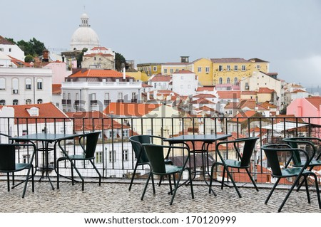 Lookout Point of Portas do Sol, Lisbon (Portugal) - stock photo