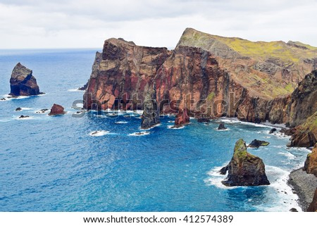 Lookout Ponta do Rosto in Eastern Madeira, Portugal - stock photo