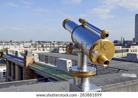 Lookout station on the top of a Brussels city belvedere - stock photo