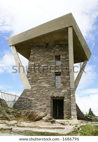 Lookout Tower at Mount Mitchell, North Carolina - stock photo