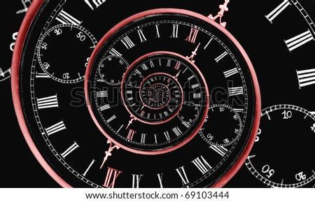 Looks like reversed infinity time spiral, digital generated image with red clock arrow and 12 number - stock photo