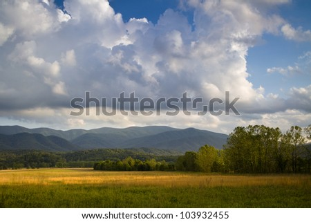 Looming clouds hang over golden fields at Cades Cove in the Great Smoky Mountain National Park - stock photo