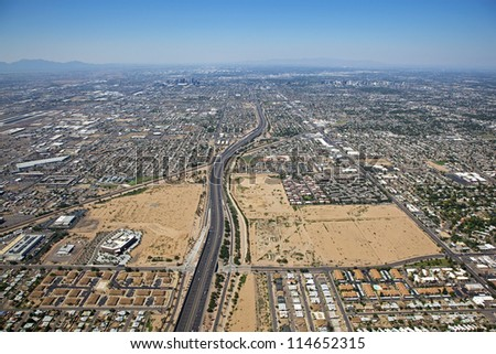 Loop 202 Freeway looking west at Downtown Phoenix from high above - stock photo