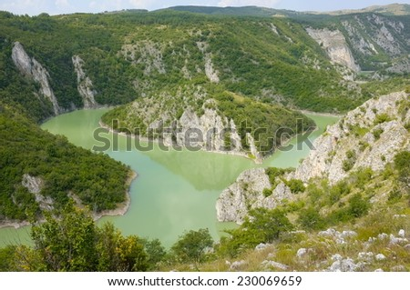 loop in the Uvac River Special Nature Reserve, Serbia - stock photo