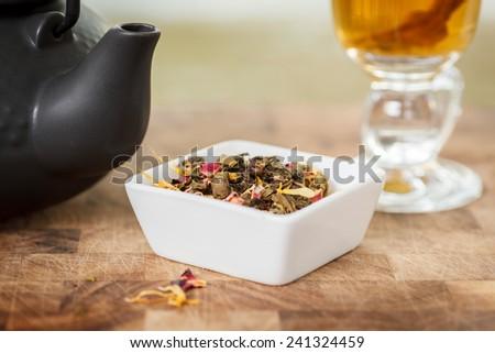 loose leaf tea. Shallow depth of field - stock photo