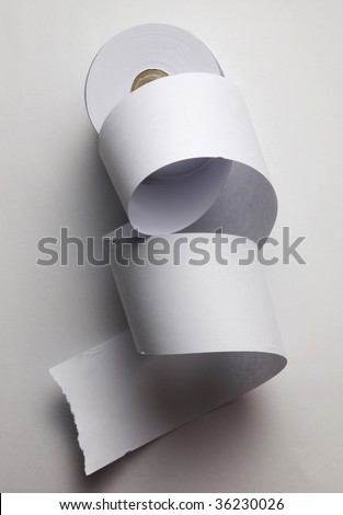 loose paper roll isolated on white - stock photo