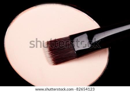 Loose powder and natural hair brush - stock photo