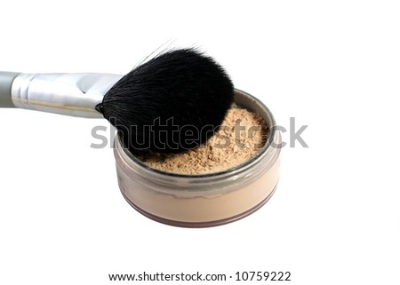 loose powder with brush on a white background - stock photo