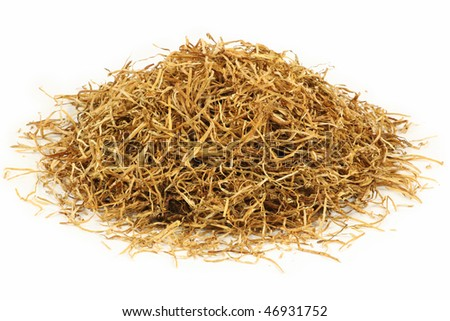 Loose shredded tobacco for background or concept