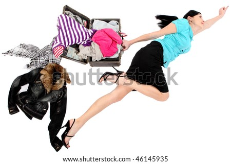 Loosing things. Loosing things. Open suitcase. Isolated over white - stock photo