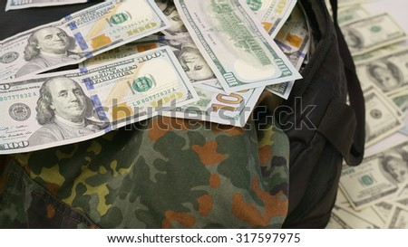 Loot from bank robbery - Sports bag full of money