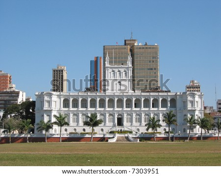 Lopez presidential palace in Asuncion - stock photo
