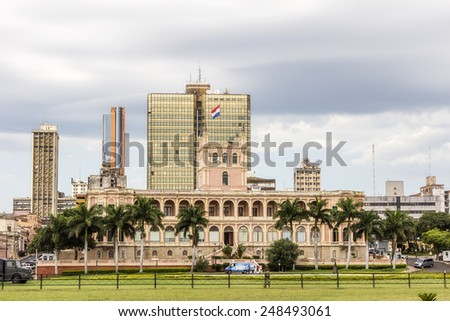 Lopez presidential palace in Asuncion, Paraguay capital. South America - stock photo