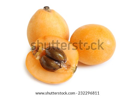 Loquat medlar on white background - stock photo