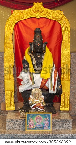 Lord Ayyappa, the third son of Lord Shiva and the mythical enchantress Mohini, is a popular Hindu deity worshiped mainly in South India, grants refuge to His devotees and protects them from all evils. - stock photo