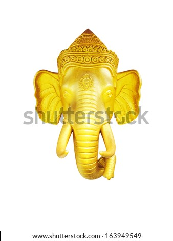 Lord ganesh.The Thai golden elephant head  on white background