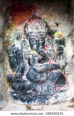 Lord Ganesha in Kathmandu during festival  - stock photo