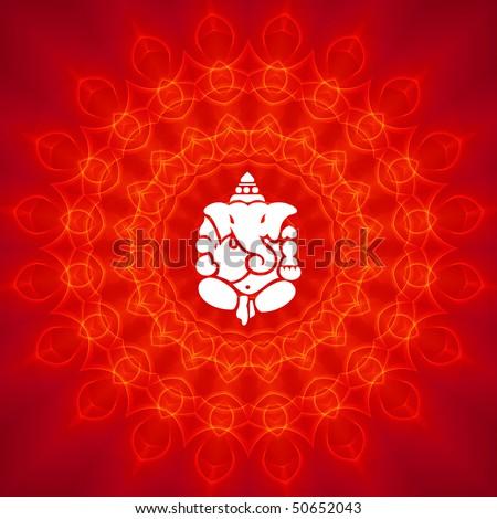 Lord Ganesha on Mandala Background - stock photo