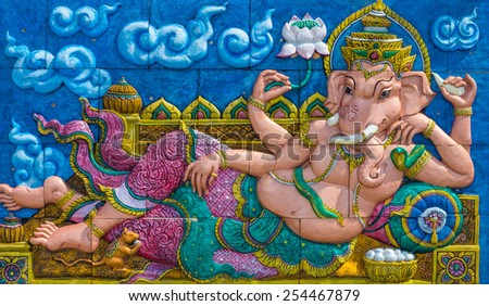 Lord Ganesha Wall sculpture - stock photo