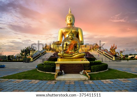 Lord most elegant Wat Muang Ang Thong. Popular worship of Buddhists in Thailand. - stock photo